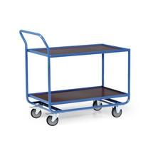 Tafelwagen van buizenstaal, cap. 300 kg, 2 etages van 1.010 x 610 mm, met stalen lijst