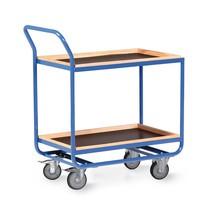 Tafelwagen van buizenstaal, cap. 300 kg, 2 etages van 810 x 510 mm, met beuken lijst 30 mm hoog