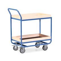 Tafelwagen van buizenstaal, cap. 300 kg, 2 etages van 810 x 510 mm, met beuken lijst 75 mm hoog