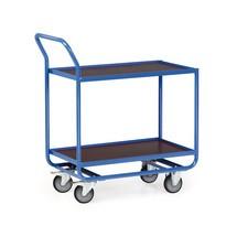 Tafelwagen van buizenstaal, cap. 300 kg, 2 etages van 810 x 510 mm, met stalen lijst