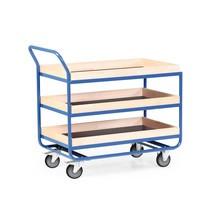 Tafelwagen van buizenstaal, cap. 300 kg, 3 etages van 1.010 x 610 mm, met beuken lijst 75 mm hoog
