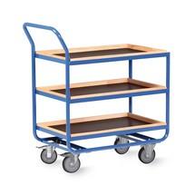 Tafelwagen van buizenstaal, cap. 300 kg, 3 etages van 810 x 510 mm, met beuken lijst 30 mm hoog
