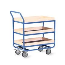 Tafelwagen van buizenstaal, cap. 300 kg, 3 etages van 810 x 510 mm, met beuken lijst 75 mm hoog