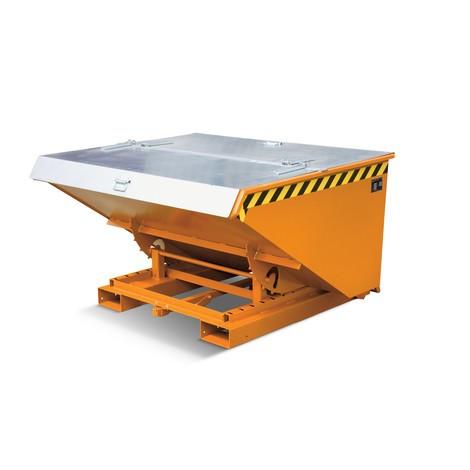 Tapa para recipiente de vuelco con mecanismo rodante automático