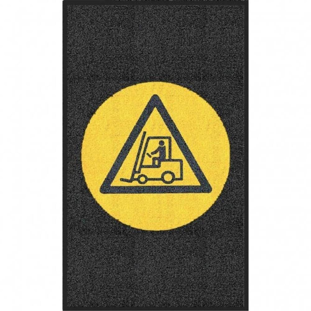 Tapis avec logo m2™ «Attention chariot»