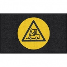 Tapis avec logo m2™ « Attention chariot »
