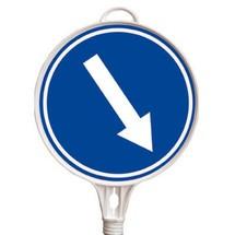Targhetta di avvertimento freccia direzionale, in basso a destra, rotonda
