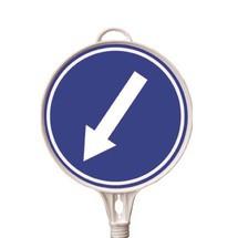 Targhetta di avvertimento freccia direzionale, in basso a sinistra, rotonda