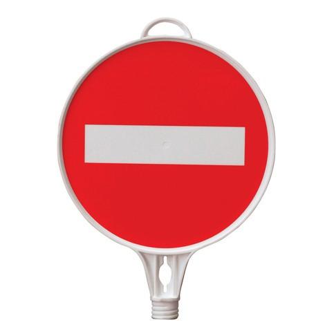 """Targhetta di avvertimento """"Passaggio vietato"""", rotondo, per coni stradali e paletti di sbarramento"""