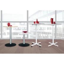 Tavolo a colonna con base a razze, regolabile in altezza