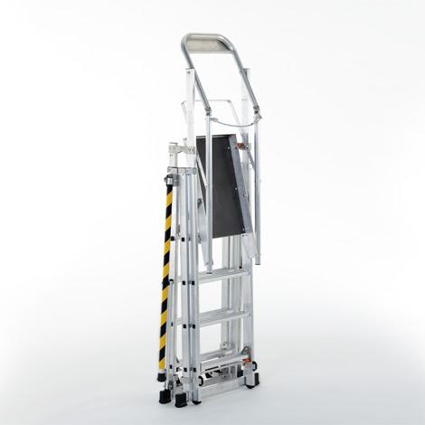 Teleskop-Plattformleiter ZARGES. Beidseitig besteigbar, Arbeitshöhe bis 5,15 m