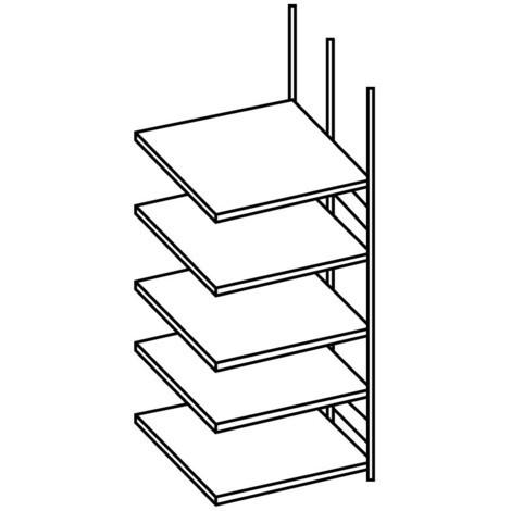 Tilbygningssektion til META-ringbindsreol, dobbeltsidet, uden afdækningshylde, lysegrå