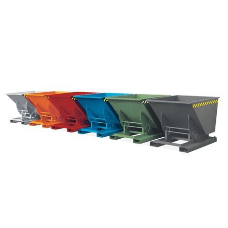 Tippcontainer med avrullningsmekanik, TK 1000 kg, lackerad, volym 0,75 m³