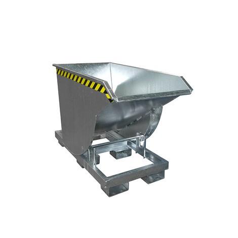 Tippecontainer med afrulningsmekanik Premium, dybt konstruktion, galvaniseret, uden låg