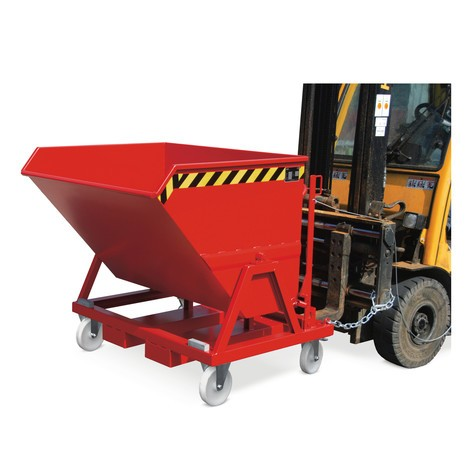 Tipping chip container, ground-level emptying, painted, volume 0.4 m³
