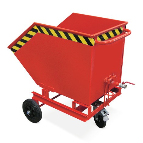 Tipping chip container, ground-level emptying, painted, volume 1 m³, without fork pockets
