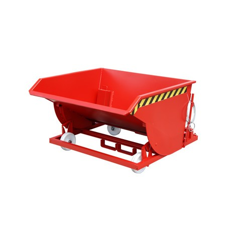 Tipping chip container, low height, with fork pockets, painted, volume 0.75 m³