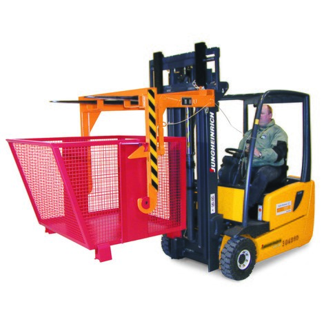 Tipping container with mesh side walls, painted, volume 0.9 m³