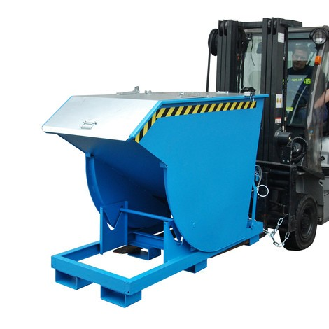 Tipping container with premium rolling mechanism, deep body, painted, with cover, volume 2 m³