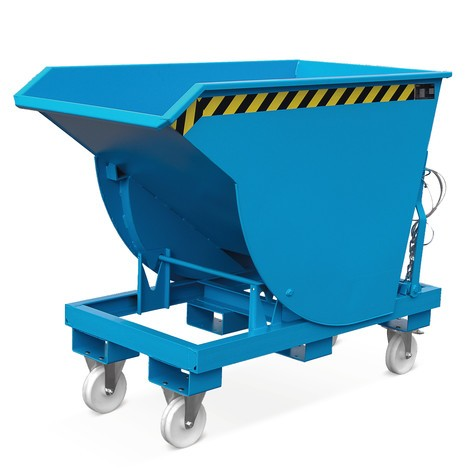 Tipping container with premium rolling mechanism, deep body, painted, without cover, volume 1.5 m³