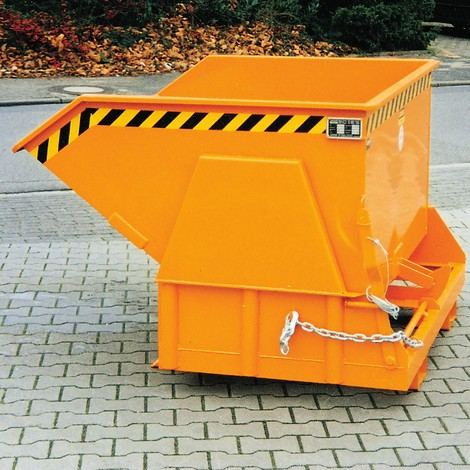 Tipping container with premium rolling mechanism, wide body, painted, without cover, volume 1 m³
