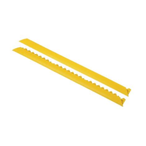 Tira de borde para placas de suelo con sistema de encajado para puesto de trabajo de montaje