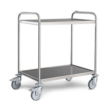 Tisch-Servierwagen aus Edelstahl mit 2 Böden. Tragkraft bis 160kg