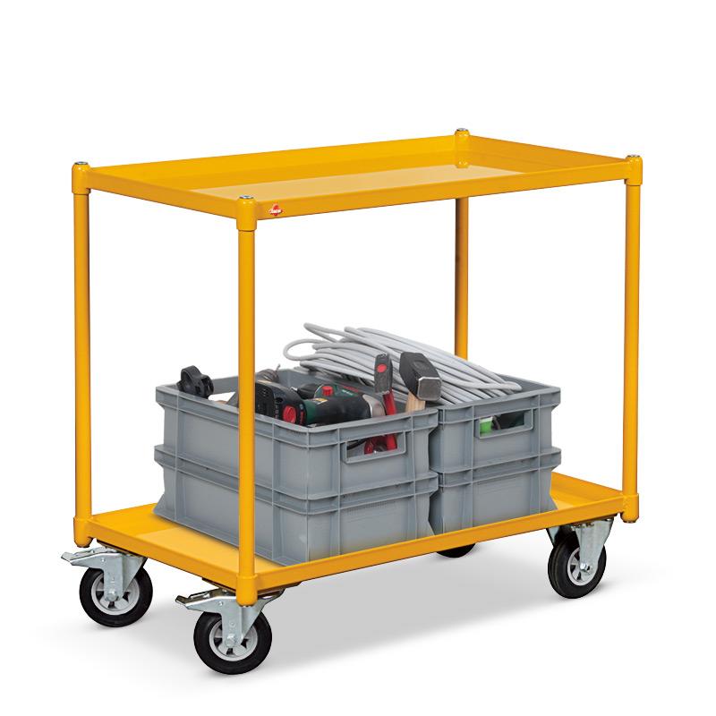 Tischwagen Ameise ® mit 2 Stahlwannen. Ladefläche 840x450mm, Tragkraft 250 kg
