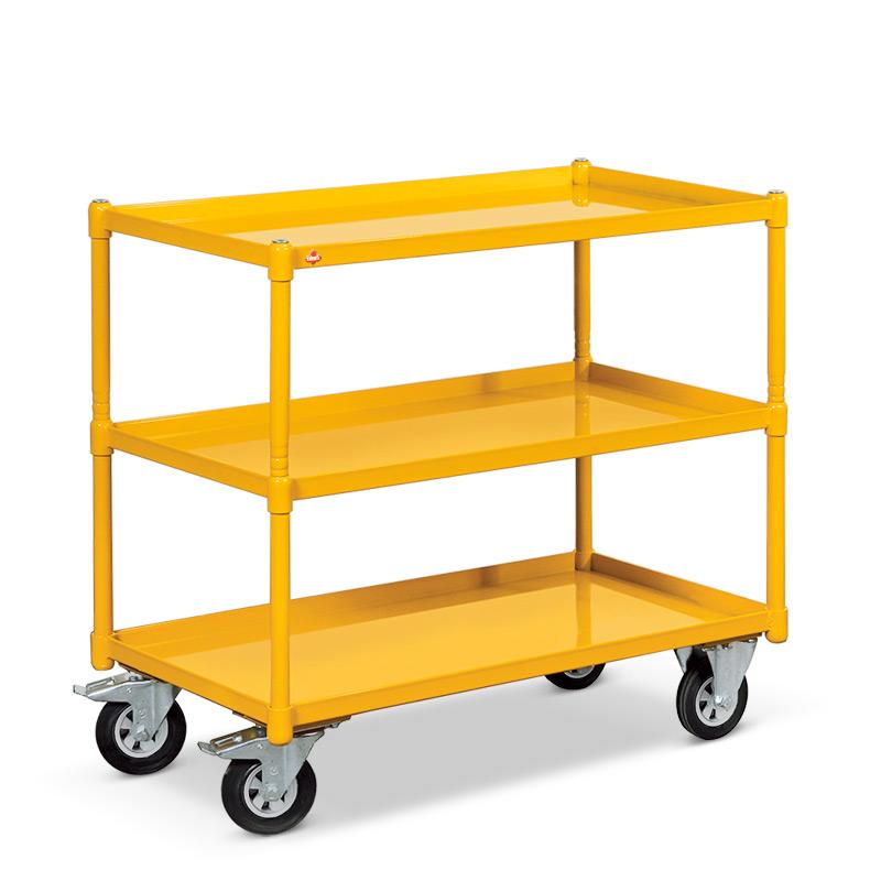 Tischwagen Ameise ® mit 3 Stahlwannen. Ladefläche 840x450mm, Tragkraft 250 kg