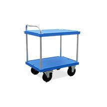 Tischwagen aus Kunststoff mit 2 Ladeflächen, Ladefläsche BXT 600 x 840 mm, blau