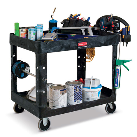 Tischwagen aus Polypropylen mit 2 Ablagen und Werkzeughaltern. Tragkraft 226 kg