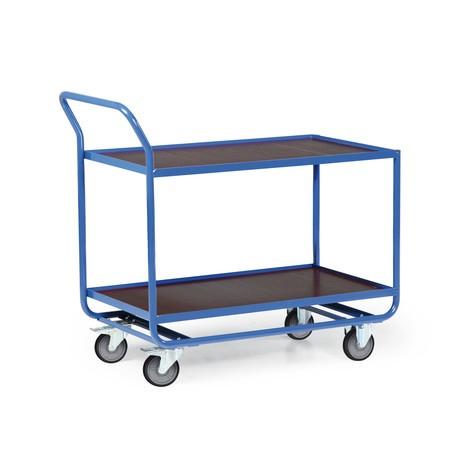 Tischwagen aus Stahlrohr, TK 300 kg, 2 Etagen à 1.010 x 610 mm, mit Stahlleiste