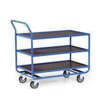 Tischwagen aus Stahlrohr, TK 300 kg, 3 Etagen à 1.010 x 610 mm, mit Stahlleiste