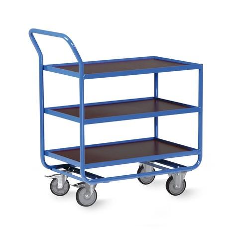 Tischwagen aus Stahlrohr, TK 300 kg, 3 Etagen à 810 x 510 mm, mit Stahlleiste