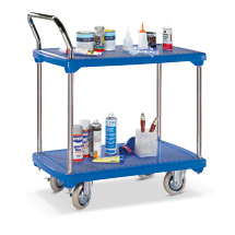 Tischwagen BASIC mit 2 Kunststoff-Böden. Tragkraft 200kg. 1 Schiebebügel.