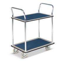 Tischwagen BASIC mit 2 Stahlblech-Böden. Tragkraft 120kg. 2 Schiebebügel.