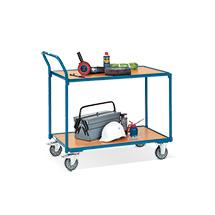 Tischwagen fetra®. 2 Holzböden + senkrechter Bügel, Tragkraft 250kg