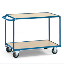 Tischwagen fetra®. 2 Holzböden + waagerechter Bügel, Tragkraft 250kg