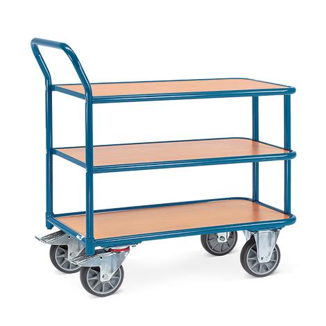 Tischwagen fetra®. 3 Holzböden + 1 Schiebebügel, Tragkraft 400kg
