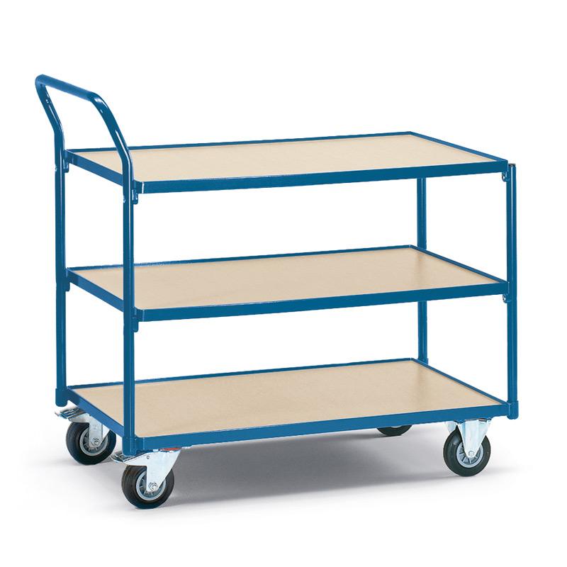 Tischwagen fetra®. 3 Holzböden + senkrechter Bügel, Tragkraft 250kg