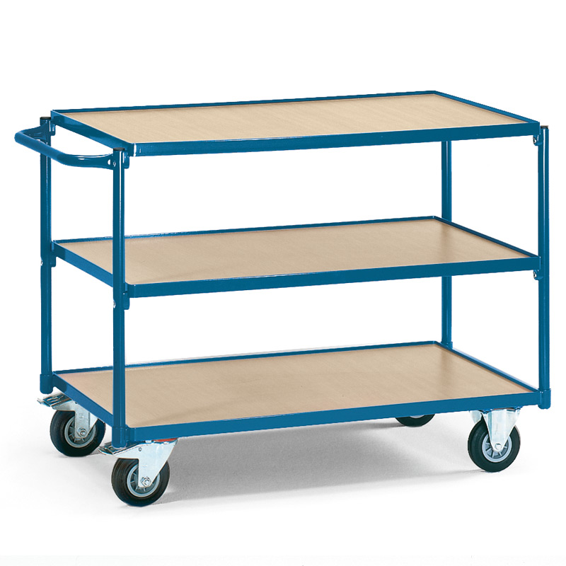 Tischwagen fetra®. 3 Holzböden + waagerechter Bügel, Tragkraft 250kg
