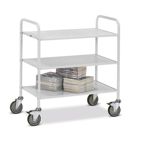 Tischwagen fetra® für das Büro mit 3 Böden ohne Rückwand. Tragkraft 150 kg