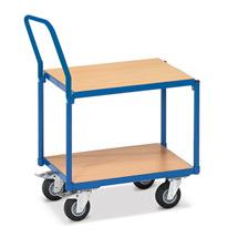 Tischwagen fetra® für die Werkstatt mit 2 Holzböden. Mit Schiebebügel