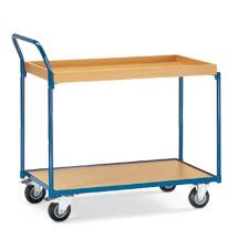 Tischwagen fetra® mit 1 Holzboden und 1 Holzkasten. Höhe 1,02 m