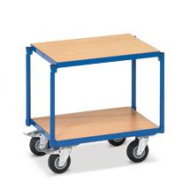 Tischwagen fetra® mit 2 Holzböden für die Werkstatt. Ohne Schiebebügel