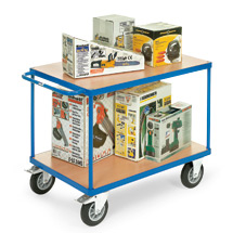 Tischwagen fetra® mit 2 Holzböden. Tragkraft bis 500kg, Bereifung aus Vollgummi