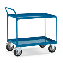 Tischwagen fetra® mit 2 Stahlblechwannen + senkrechter Bügel. Tragkraft 400kg