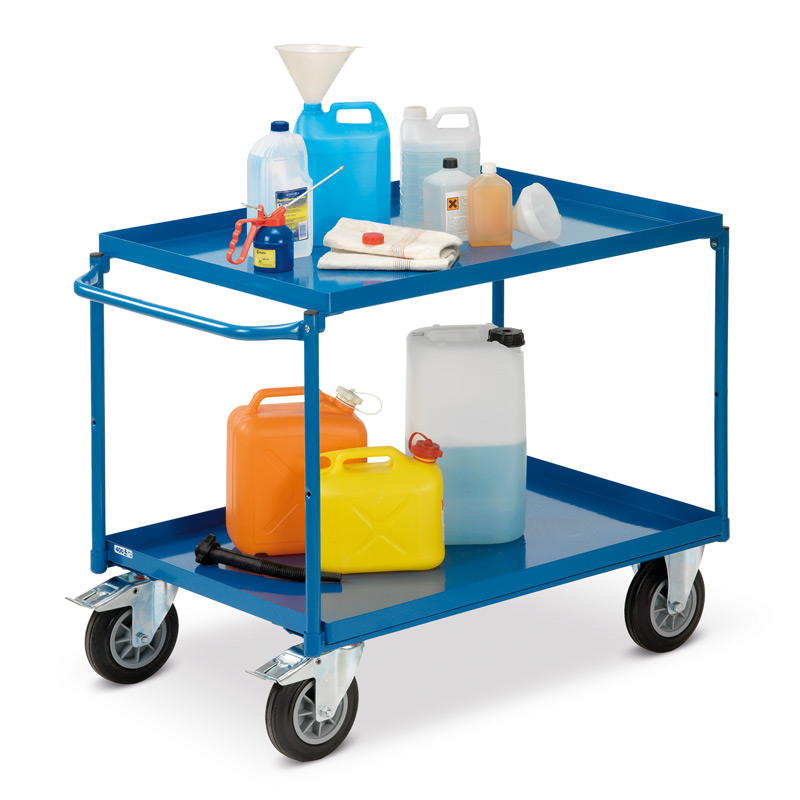 Tischwagen fetra® mit 2 Stahlblechwannen + waagerechter Bügel. Tragkraft 400kg