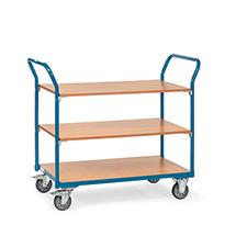 Tischwagen fetra® mit 3 Holzböden. Tragkraft 200 kg