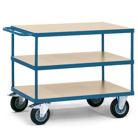 Tischwagen fetra® mit 3 Holzböden. Tragkraft bis 500 kg